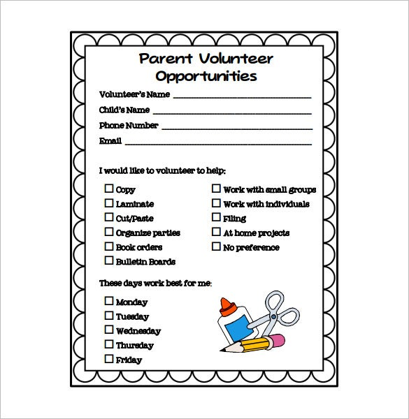 parent volunteer schedule oppotunities download