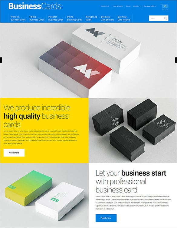 premium business cards services prestashop theme