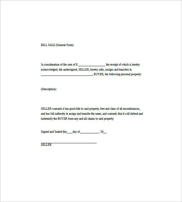 General Bill Of Sale   Free Word Excel Pdf Format Download