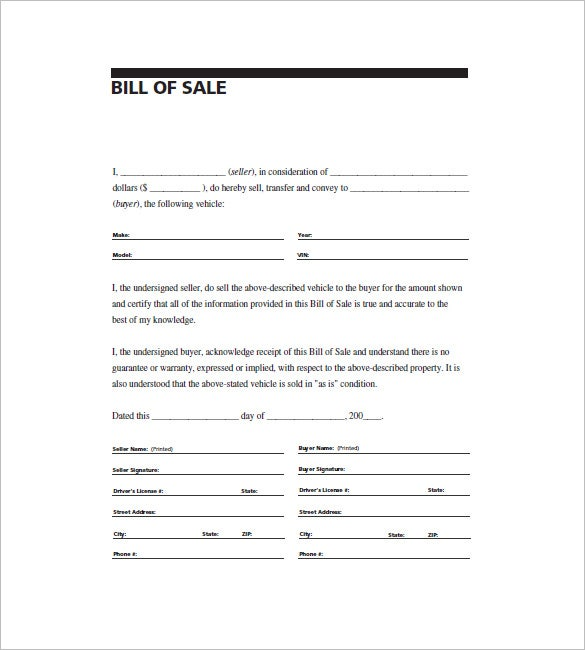 General Bill of Sale 10 Free Word Excel PDF Format Download – Bill of Sale Word Document