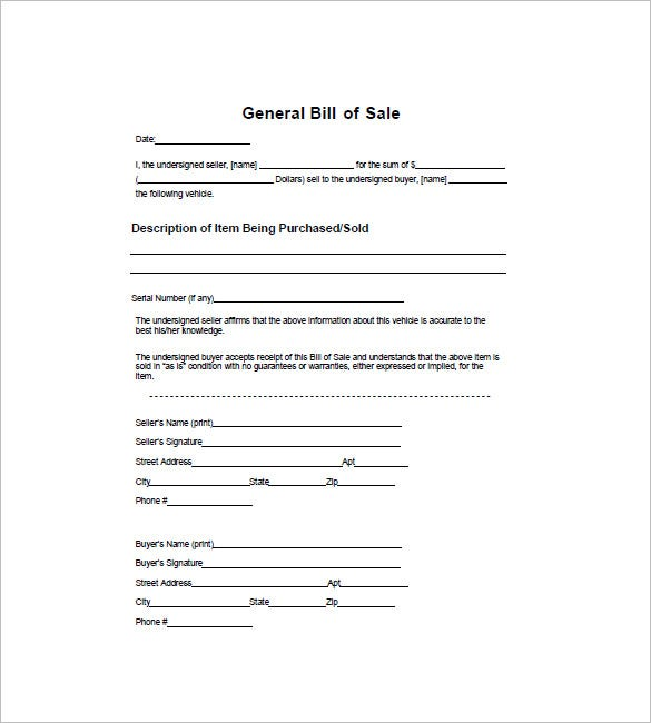 General Bill Of Sale Free Word Excel PDF Format Download - Free bill of sale template word