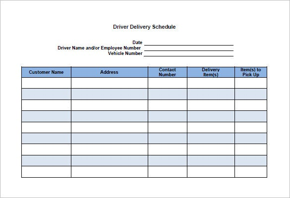 Delivery Schedule Template 8 Free Word Excel PDF Format – Shipping Schedule Template