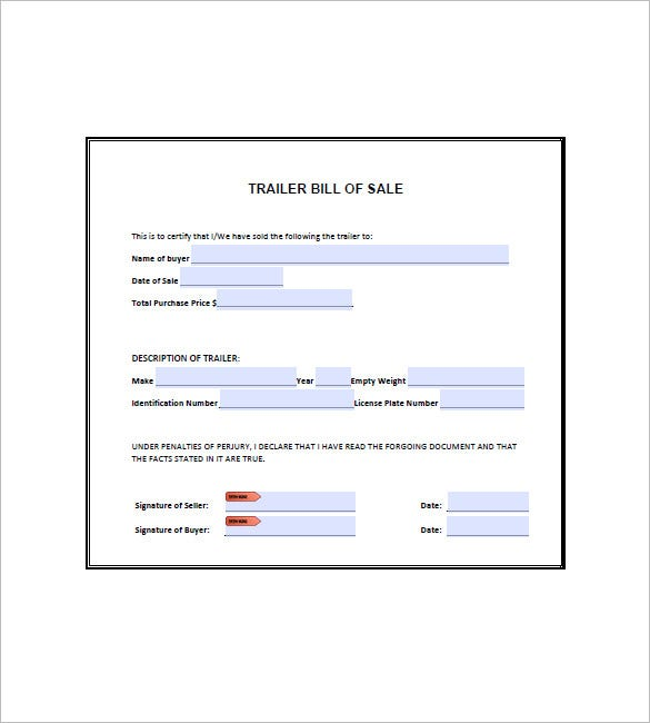 Trailer Bill Of Sale   Free Word Excel Pdf Format Download
