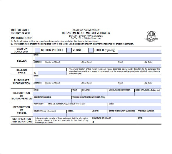 Trailer Bill Of Sale   Free Sample Example Format Download