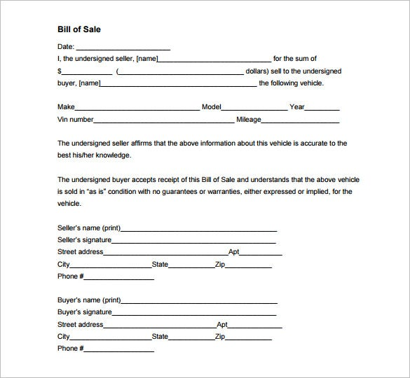 Auto Bill of Sale – 8+ Free Word, Excel, PDF Format Download ...