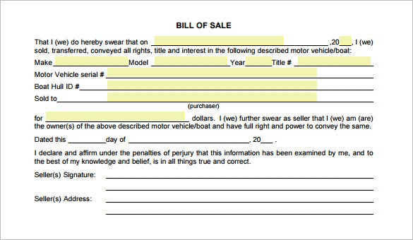 Free Car Bill Of Sale Pdf  BesikEightyCo