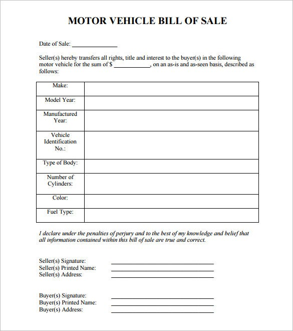 Sample Motor Vehicle Bill Of Sale Template Free Download
