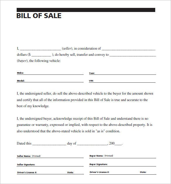 Vehicle Bill Of Sale Example  NinjaTurtletechrepairsCo