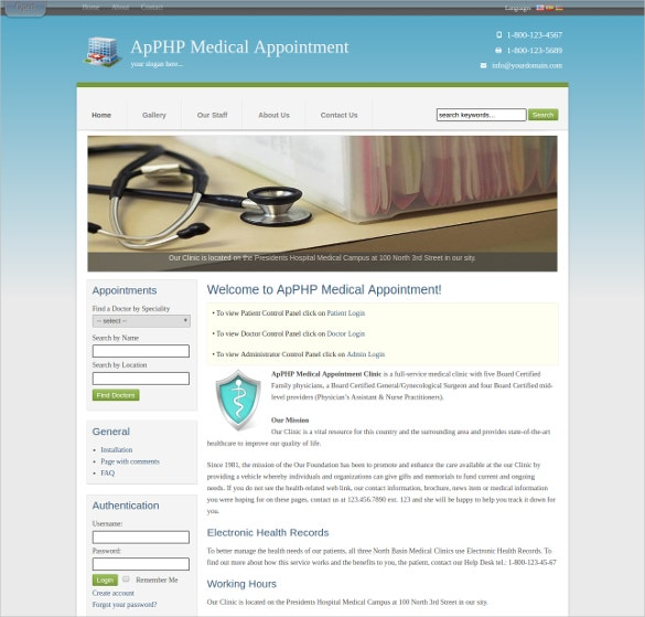 Medical appointment PHP Template