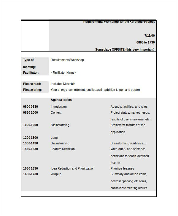 Requirements Workshop Agenda Template