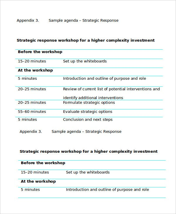strategy workshop agenda template