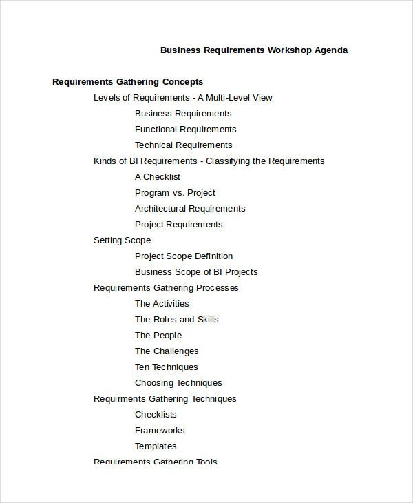 Business Workshop Agenda Template