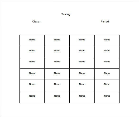 Classroom Seating Chart Template   Examples In Pdf Word Excel