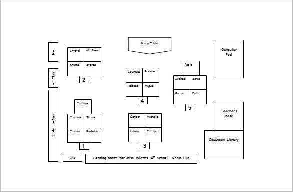 Classroom Seating Chart Template 14 Examples in PDF Word – Classroom Seating Arrangement Templates