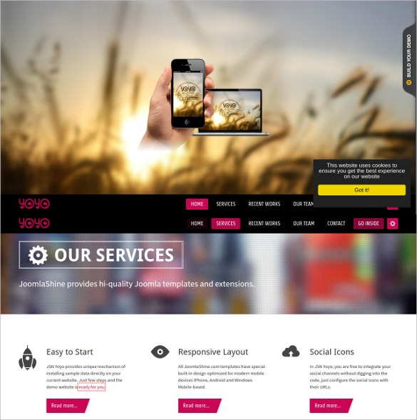 flexible one page joomla template