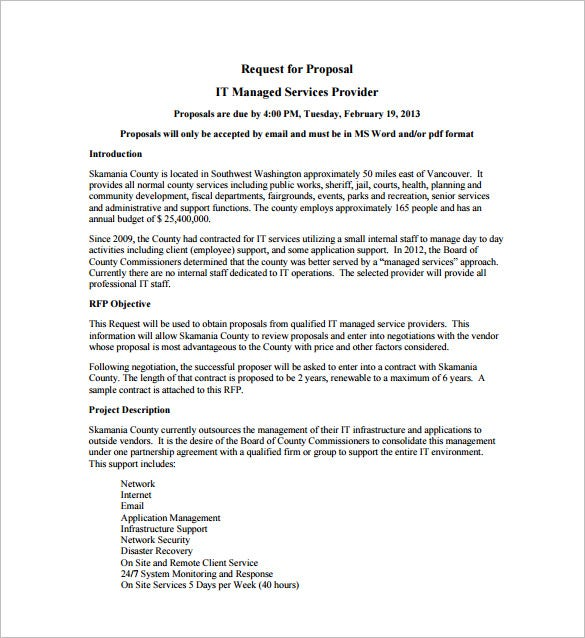 Proposal templates 140 free word pdf format download for Managed service provider contract template