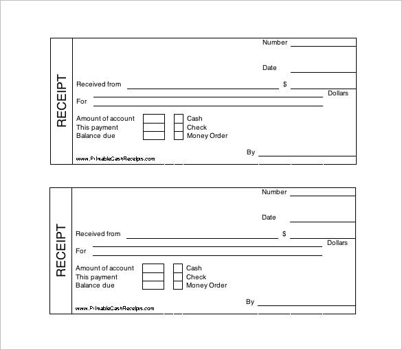 Printable Cash Receipt Template Free  Check Receipt Template Word