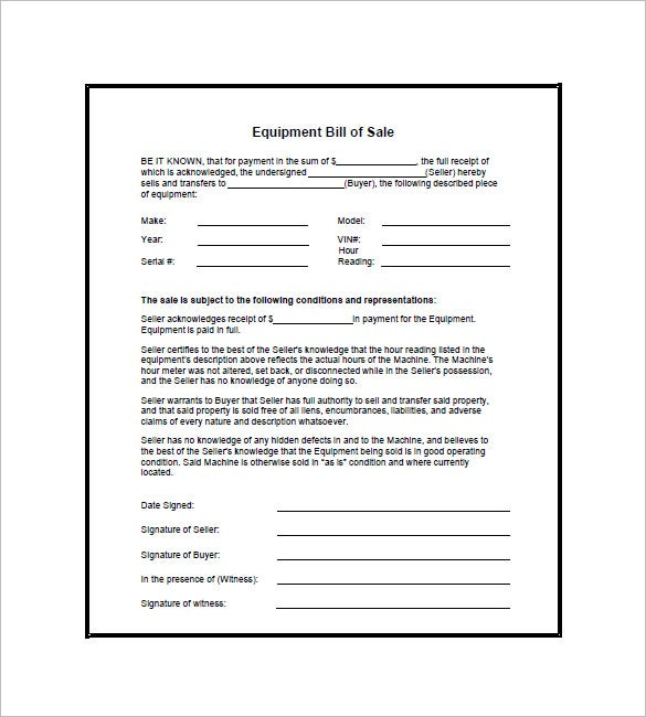 Equipment Bill Of Sale Form  Free Bill Of Sale Template Word