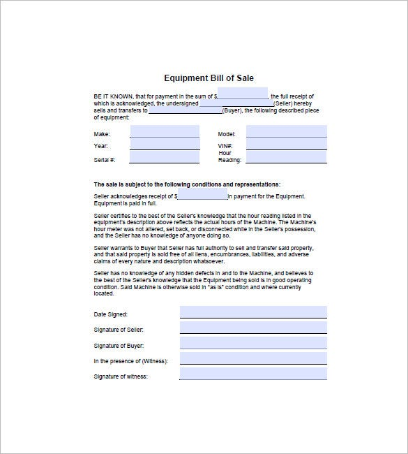 equipment bill of sale sample
