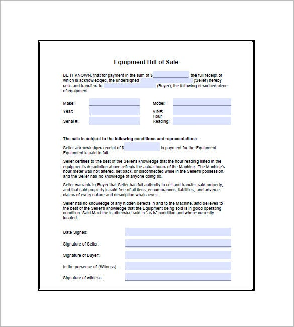 Equipment Bill Of Sale   Free Sample Example Format Download