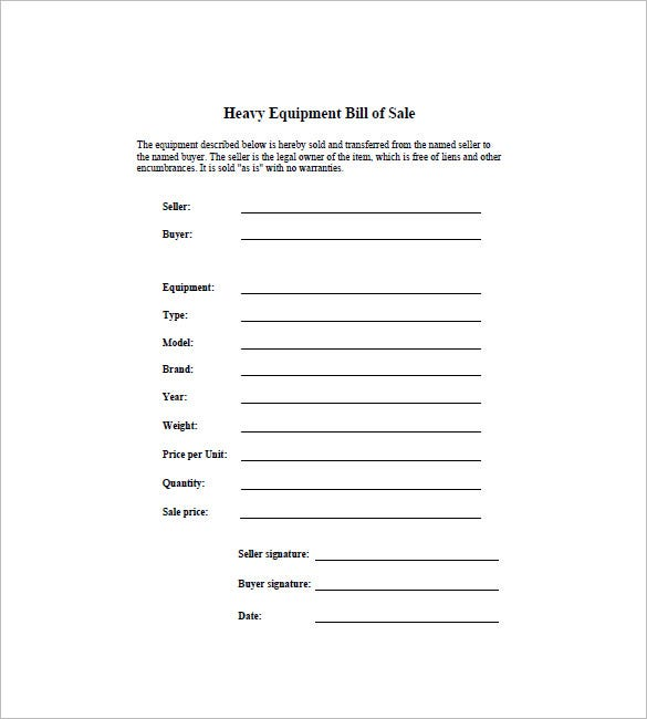 bill of sale equipment Equipment Bill of Sale - 6  Free Word, Excel, PDF Format Download ...