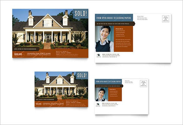 Residential Realtor Postcard Template Design Download  Free Postcard Templates Microsoft Word