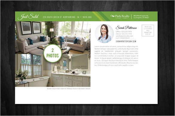 real estate postcard template design with options