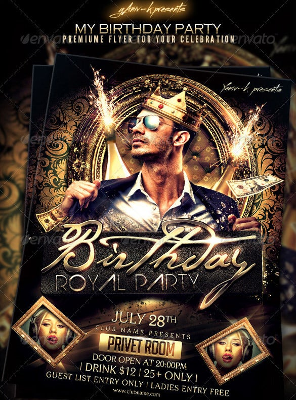 birthday bachelor party invitation template psd design