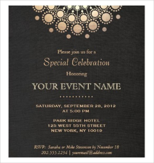 Motif Black Linen Look Formal Invitation Template Download