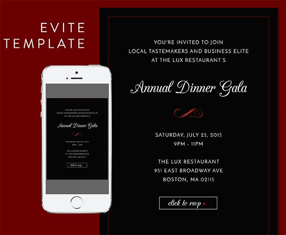 formal dinner invitaion evite psd template