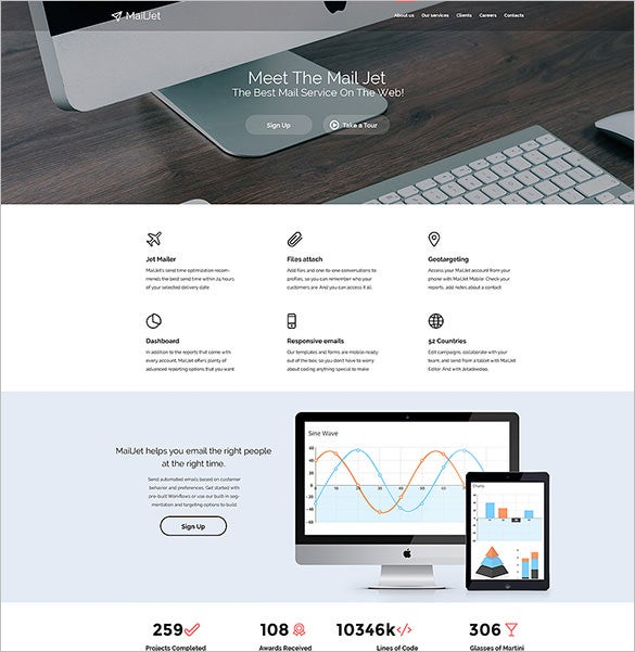 email services responsive website template