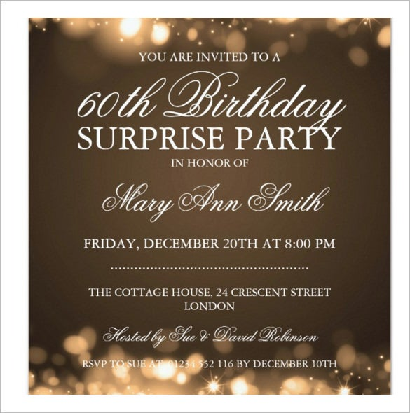 Surprise Birthday Party Gold Sparkling Lights Invitation  Birthday Party Invitation Template Word