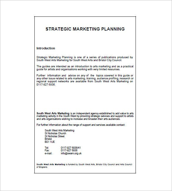 Marketing plan template 65 free word excel pdf format for Strategic marketing plan template free download
