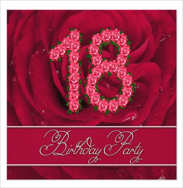 18th Birthday Invitation Template With Roses  Birthday Invitation Templates Free Word