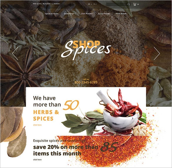 spices shop opencart html5 template