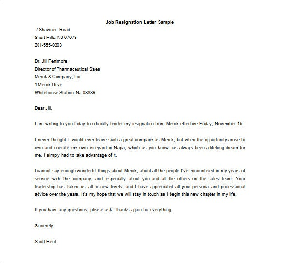 free download job resignation letter word format sample