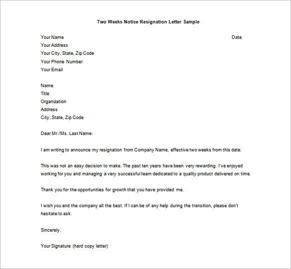 Printable Two Weeks Notice Resignation Letter Sample