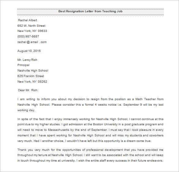 the best teaching resignation letter sample download
