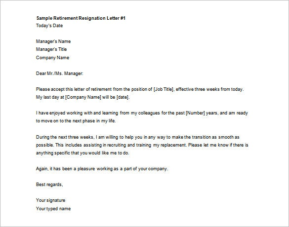 Printable Sample Retirement Resignation Letter Free Download