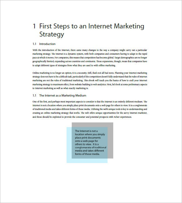 sample internet marketing plan