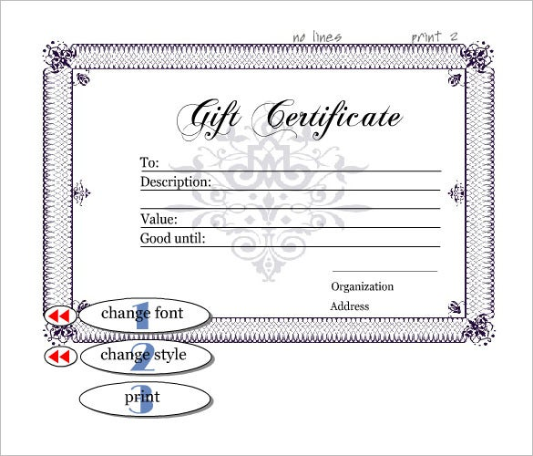 Gift certificate template 34 free word outlook pdf for Free customizable gift certificate template