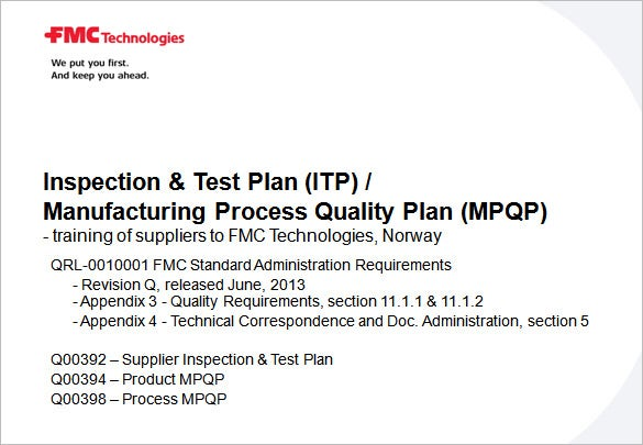 inspection and test plan template ppt document download