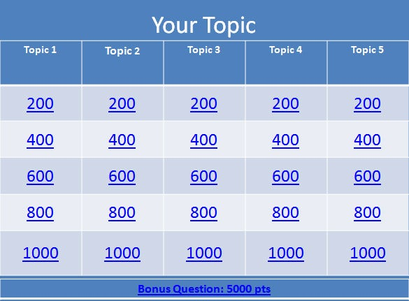 Jeopardy template 13 free word excel ppt pdf format for Jeopardy template with sound effects