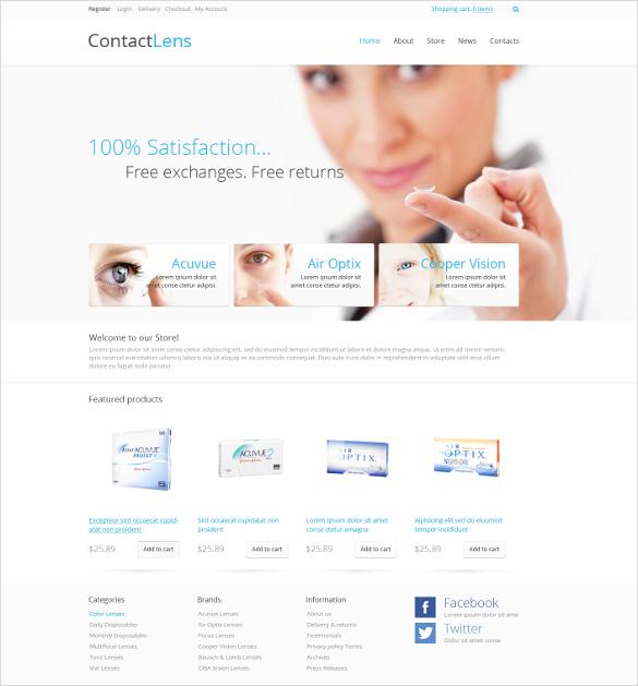 Contact Lens Medical Store Jigoshop Template