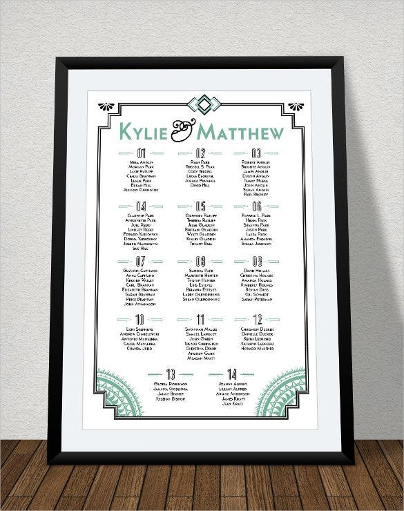 Wedding Seating Chart Template 16 Examples in PDF Word PSD – Printable Seating Charts