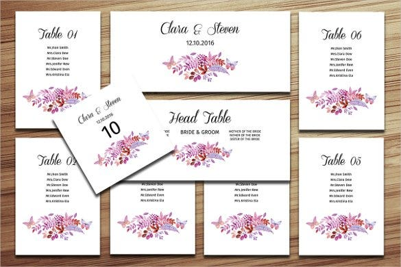 Wedding Seating Chart Template 16 Examples in PDF Word PSD – Wedding Seating Chart Template Free Printable