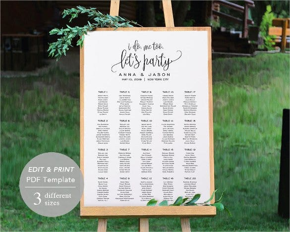 Wedding Seating Chart 10 Per Table Template