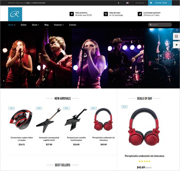 responsive music store prestashop theme1