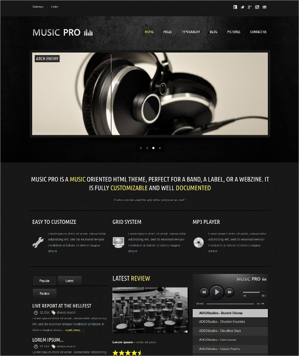 Music Oriented HTML PHP Template