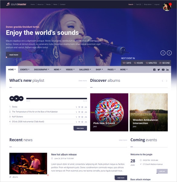 music band php template